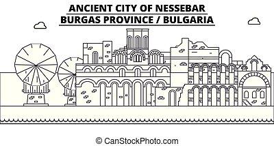 Bulgaria - Burgas, Nessebar travel famous landmark skyline, panorama vector. Bulgaria - Burgas, Nessebar linear illustration