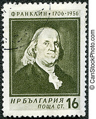 BULGARIA - CIRCA 1956: A stamp printed in Bulgaria shows portrait of Benjamin Franklin (1706-1790), series Great personalities of the world, circa 1956