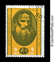 BULGARIA - CIRCA 1978: cancelled stamp printed in Bulgaria, shows famous russian writer Lev Tolstoy, circa 1978. vintage post stamp on black background.