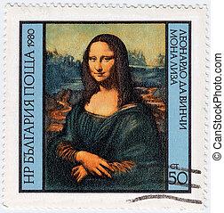BULGARIA - CIRCA 1980 : Stamp printed in Bulgaria show Leonardo Da Vinci's pictures - Mona Lisa, circa 1980