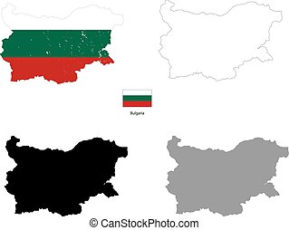 Bulgaria country black silhouette and with flag on...