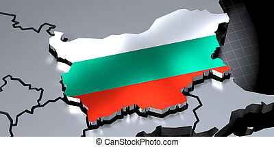 Bulgaria - country borders and flag - 3D illustration