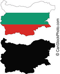 bulgaria - vector map and flag of Bulgaria with white...