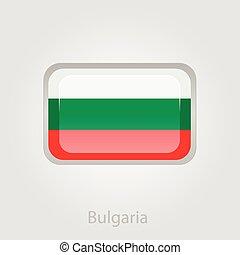 Bulgaria flag button, vector illustration