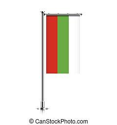 Bulgaria flag hanging on a pole.