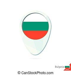 Bulgaria flag location map pin icon on white background.
