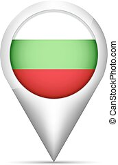 Bulgaria flag map pointer with shadow. Vector illustration