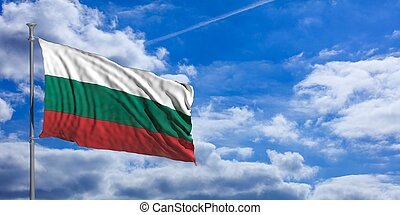 Bulgaria flag on a blue sky background. 3d illustration