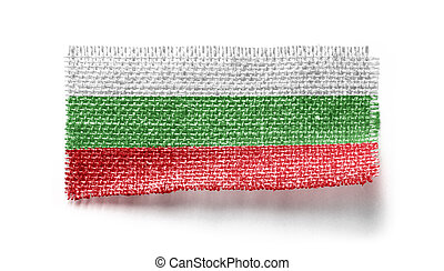 Bulgaria flag on a piece of cloth on a white background