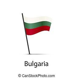 Bulgaria flag on pole, infographic element on white