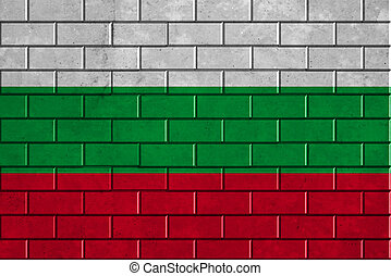 Bulgaria flag painted on a brick wall