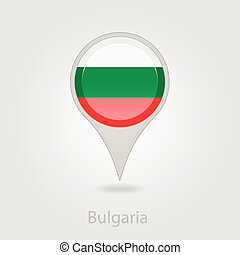 Bulgaria flag pin map icon, vector illustration