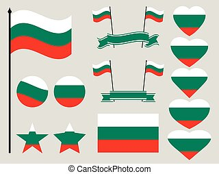 Bulgaria flag set. Collection of symbols heart and circle. Vector illustration