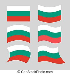 Bulgaria flag. Set of flags of Bulgarian republic in various forms. Developing Bulgarian flag of European states