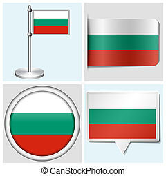 Bulgaria flag - set of various sticker, button, label and flagstaff