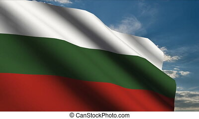 Bulgaria Flag waving in wind with clouds in background