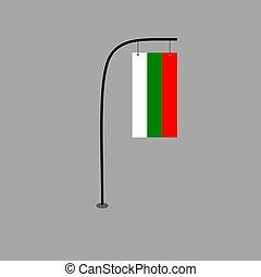 Bulgaria flag vector on pole