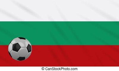Bulgaria flag waving and football rotates, loop - Bulgaria...