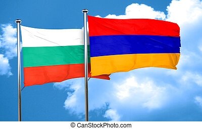 bulgaria flag with Armenia flag, 3D rendering