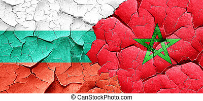 bulgaria flag with Morocco flag on a grunge cracked wall