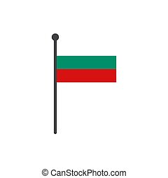 bulgaria flag with pole icon vector isolated on white background