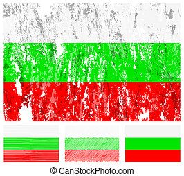 Bulgaria grunge flag set