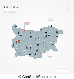 Bulgaria infographic map vector illustration.