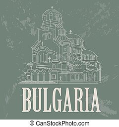 Bulgaria landmarks. Retro styled image. Vector illustration