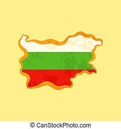Bulgaria - Map colored with Bulgarian flag