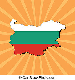 Bulgaria map flag on sunburst