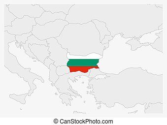 Bulgaria map highlighted in Bulgaria flag colors, gray map ...