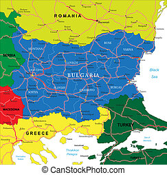 Highly detailed vector map of Bulgaria with administrative regions, main cities and roads.