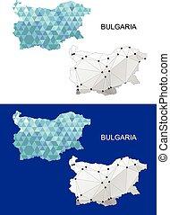 Bulgaria map in geometric polygonal