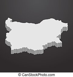 Bulgaria map in gray on a black background 3d
