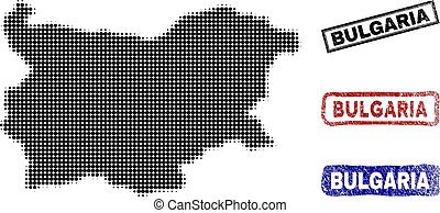 Bulgaria Map in Halftone Dot Style with Grunge Title Stamps
