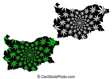 Bulgaria - map is designed cannabis leaf