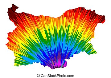 Bulgaria - map is designed rainbow abstract colorful pattern