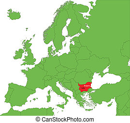 Bulgaria map - Location of Bulgaria on the Europa continent