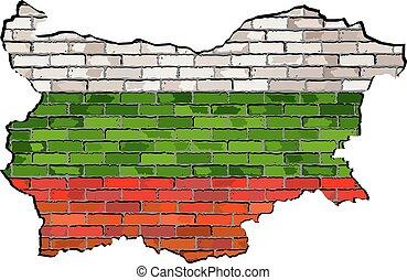 Bulgaria map on a brick wall
