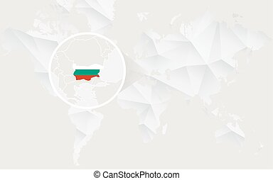 Bulgaria map with flag in contour on white polygonal World Map.