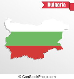 Bulgaria map with flag inside and ribbon