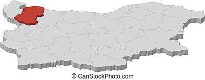 bulgaria, mappa, 3d-illustration, -, montana