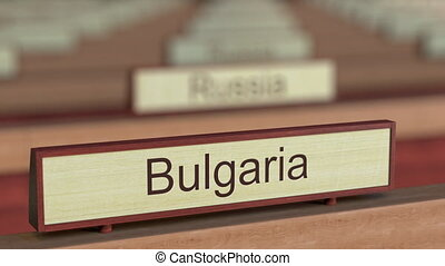 Bulgaria name sign among different countries plaques at...
