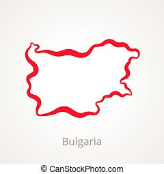 Bulgaria - Outline Map - Outline map of Bulgaria marked with...