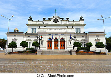 Sofia, Bulgaria - seat of the unicameral Bulgarian Parliament (National Assembly of Bulgaria). Example of Neo-Renaissance architecture style.