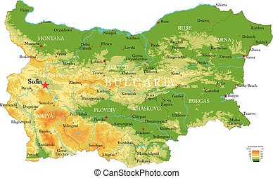 Bulgaria physical map - Highly detailed physical map of the...