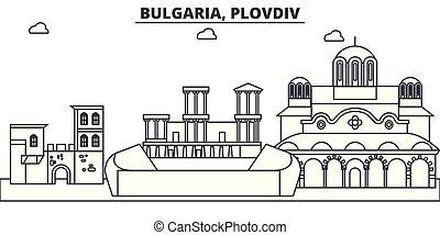 Bulgaria, Plovdiv line skyline vector illustration....
