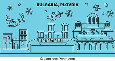 Bulgaria, Plovdiv winter holidays skyline. Merry Christmas, Happy New Year decorated banner with Santa Claus.Bulgaria, Plovdiv linear christmas city vector flat illustration
