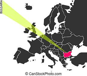 bulgaria, -, político, mapa, de, europa