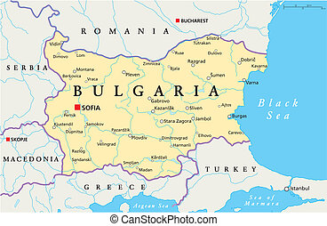 Political map of Bulgaria with the capital Sofia, national borders, most important cities, rivers and lakes. Vector illustration with english labeling and scale.